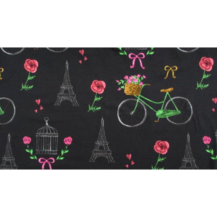 Jersey Digital print bicycles Paris black