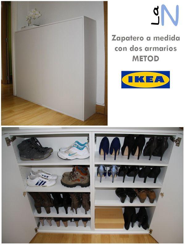 Zapatero DIY hecho a medida con dos armarios Metod de IKEA. Mira cómo lo hemos hecho en el blog: http://laneuronadelmanitas.blogspot.com.es/2015/11/zapatero-con-un-mueble-de-cocina-metod.html
