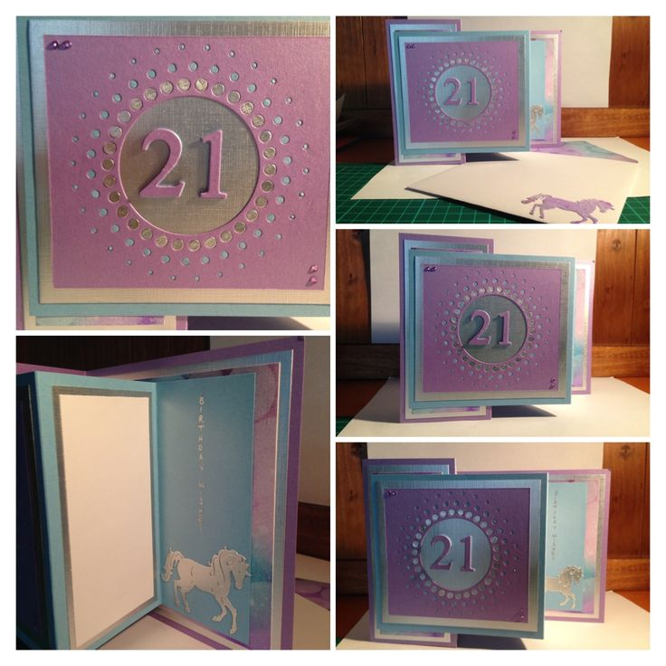 21st Birthday Card. Using Memory Box Large Circle Burst die and Kaisercraft Number Dies. Z fold layout. Loved making this card for a girl that loves horses and all things purple and silver!