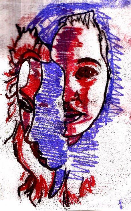 mono prints based on distortion portraiture