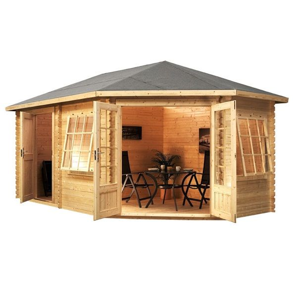 5m x 3m waltons right sided lodge plus corner log cabin