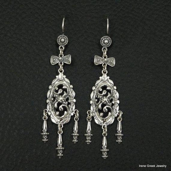 Gloednieuwe - Model 6205.ONE soort ontwerpt alle ETSY Zeldzame Victoriaanse stijl 925 Sterling zilveren Griekse handgemaakte kunst oorbellen.