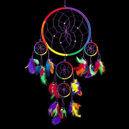 Acchiappasogni ~ arcobaleno tradizionale colore multipli con piume 22cm di diametro e 60cm di lunghezza!