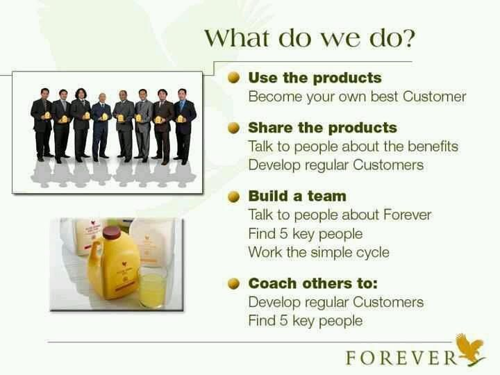 The 3 things we do in Forever! a) Use the products (b) Recommend them to others (c) Build teams globally. Join me: www.flobili.myforever.biz