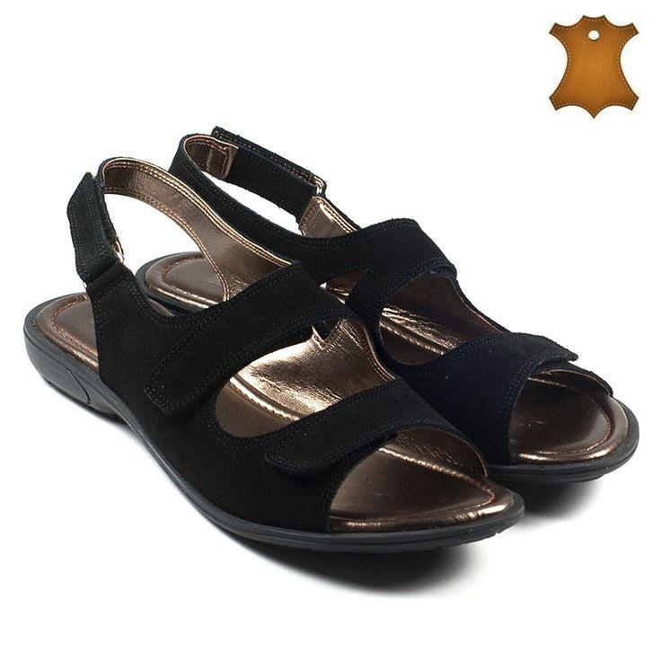 Poze Sandale dama piele naturala ARIANA negru velur