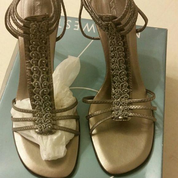 """Nine West heels Nine West grey leather heels, worn once to a wedding. 3""""heels, intricate design detail. Nine West Shoes Heels"""