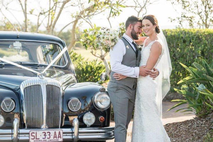 "Aimee & Ben with ""Miss daisy"" the Classic Daimler - Gold Coast Wedding"