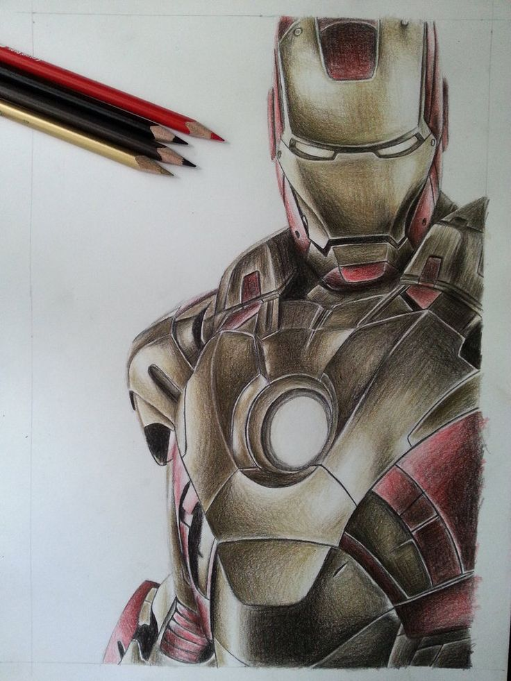 Iron man color pencil by DeadArt1