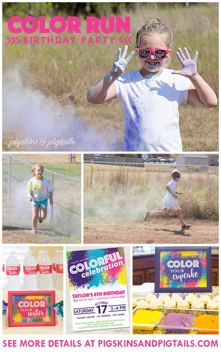 Color Run Birthday Party Theme | Color Your Cupcake, Color Your Water, Ideas and printables at pigskinsandpigtails.com