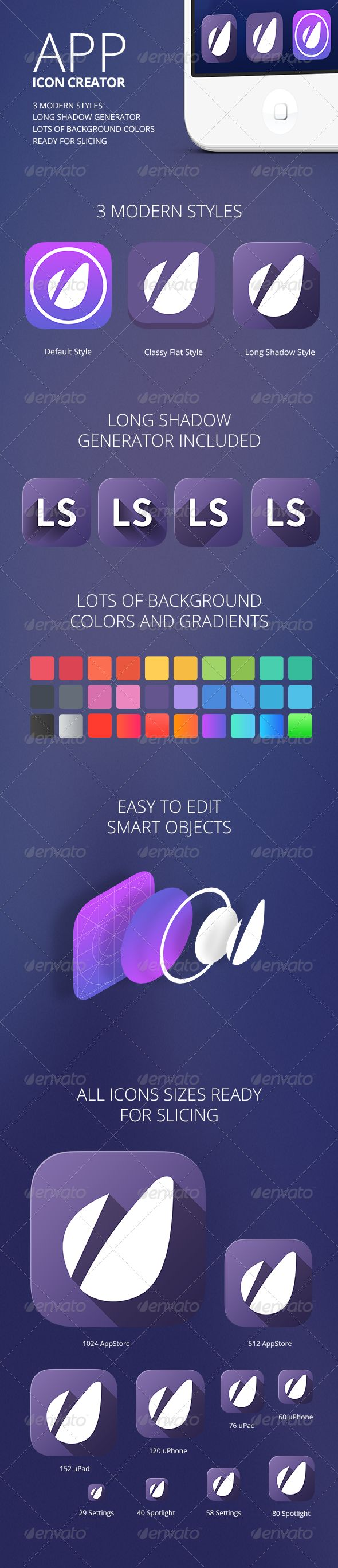 App Icon Creator with Flat Shadow Generator | Download: http://graphicriver.net/item/app-icon-creator-with-flat-shadow-generator/5803947?ref=ksioks