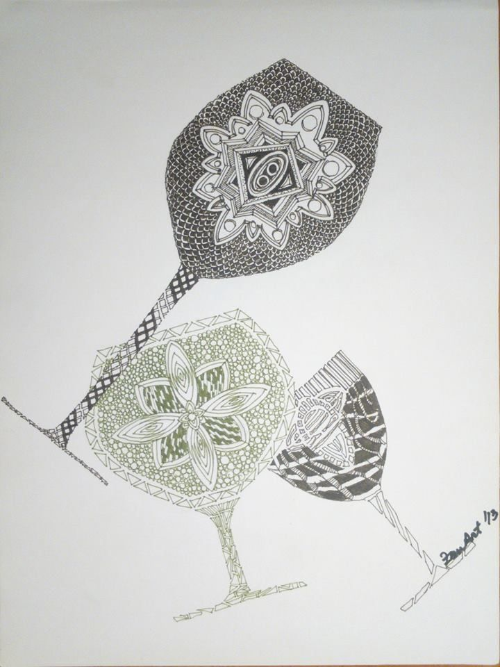 Let's have some wine [Black Liner and ink on paper - A4] https://www.facebook.com/ZenArtDraw/