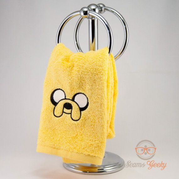 Adventure Time Jake Inspired  Embroidered Hand Towel by SeamsGeeky