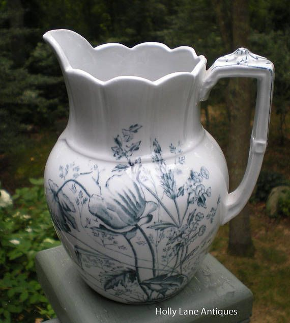 Antique Blue Transfer Ware Pitcher Poppy Pattern England