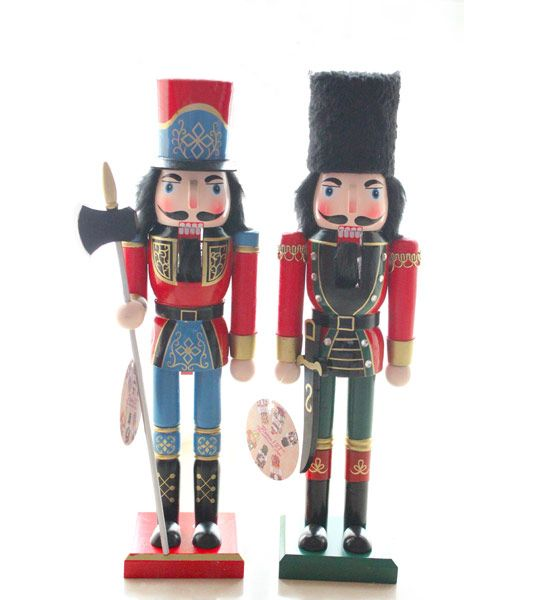 Handmade Christmas Nutcracker Wooden Walnut Soldiers  Traditional Walnut Soldiers have a wooden leaver at the back for mouse. Protecting your family and Good luck to your family. Glitter and Vintage design Nutcrackers are gorgeous table ornaments as well.  Size: 38cm Height (14 inches)             Material: Wooden