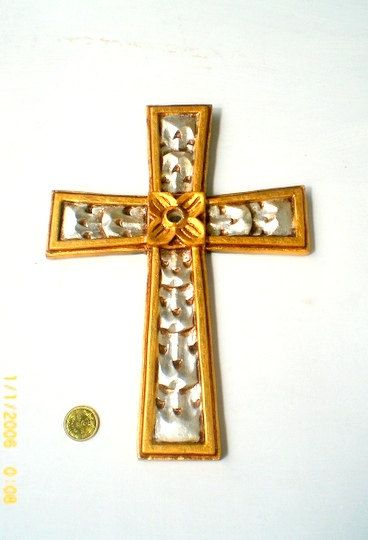 "14""x9""Gold Frame Wall Hanging Cross,Unique Wall Cross,Distressed Wall Gold Silver Cross,Decorative 14x9 Ornate Silver Gold Cross Wall Decor"