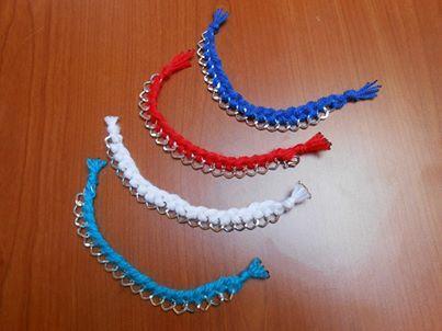 Braccialetti a maglia larga con treccia in filo ( cotono o lana) disponibile anche in nero e verde