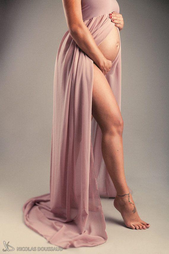 Платье для беременных Фото Опора Цвет: Сиреневые (один размер подходит для большинства) Материнство платье / материнства Фотография Реквизит