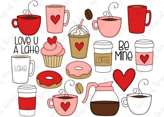 Valentine Coffee Hand Drawn Digital Clipart Set Of 20 Etsy Valentines Day Drawing Coffee Valentines How To Draw Hands