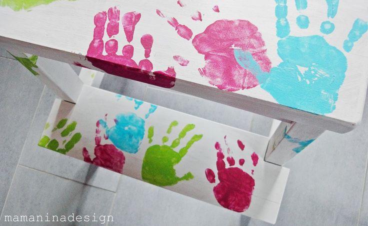 Basteln mit Kindern: Ikea-Hocker mit Handabdrücken