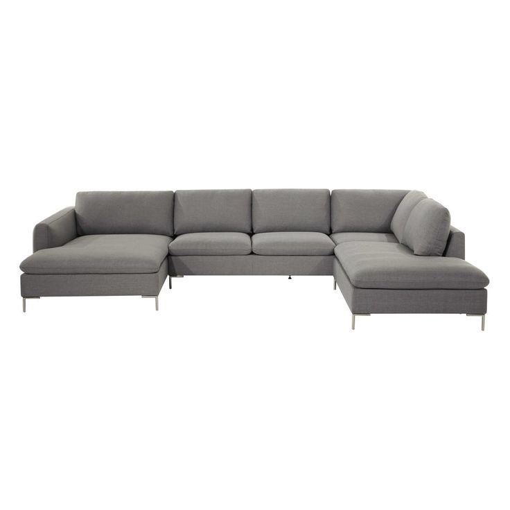 Canapé d'angle 7 places en tissu gris clair