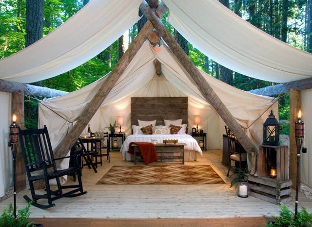 Glamping tent cabins you can rent in Washington state near Seattle.