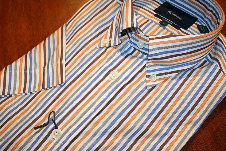 Faconnable Short Sleeve Shirt  Orange and Brown Stripe   #Mondo #Uomo #Naples #Fashion