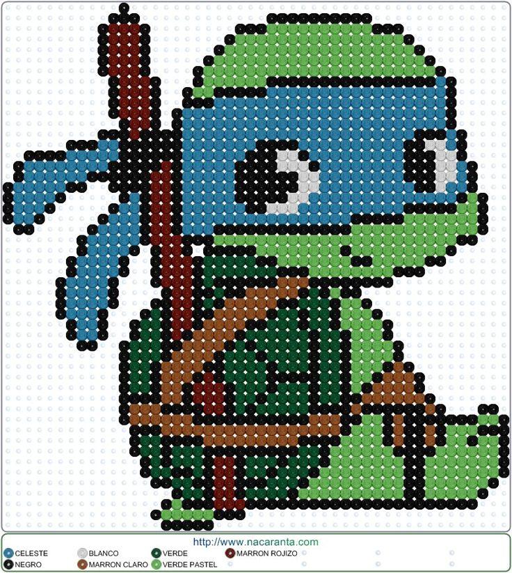 Leonardo PATRONES HAMA BEADS Tortugas Ninja                                                                                                                                                     Más