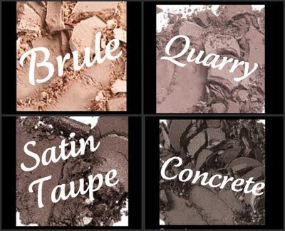 MAC shadows * Brule * Quarry * Satin Taupe * Concrete *  A few fav shades from an old Ten on Tuesday list.