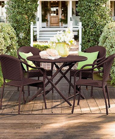 Plow U0026 Hearth Chocolate Wicker Folding Five Piece Outdoor Table Set Part 79