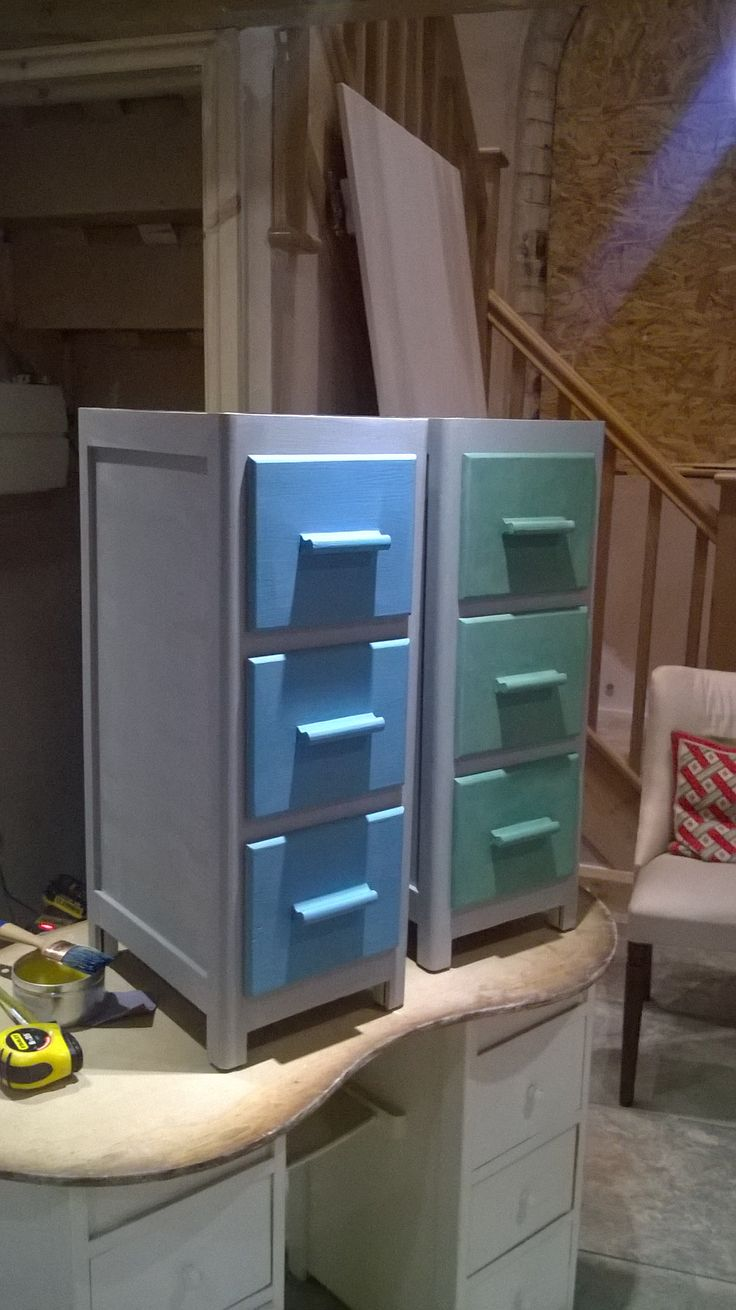 Upcycling Furniture for kids bedroom, Took and old dressing table, split it down to 2 units (original was the same as the one below in the pic) and painted the cupboard with Autentico foggy venice, the drawers were Florence mixed with chateau grey (green) and Rustoleum chalk paint in Teal( Blue) all then waxed in autentico amber wax.