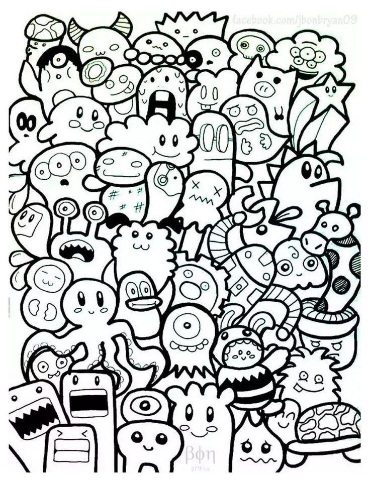 Kostenlose Malvorlagen Coloring Doodle Doodling 10 Zeichen Nb Doodle Characters Cute Doodles Cool Doodles