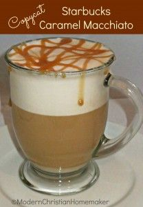 Copycat Starbucks Caramel Macchiato Ingredients: 3oz of Milk 1/4 tsp Vanilla Extract 6 oz Coffee brewed VERY strong (or 6 oz brewed Starbucks Caffe Verona thru KCup)  2 teaspoons of Caramel sauce
