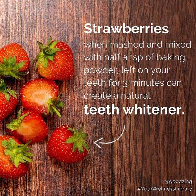 Looking to get your pearly whites all sparkly? Instead of spending a fortune on fancy products, check out tried & tested natural remedies & products from our community! Did you know that strawberries mixed with baking powder create a little paste that temporarily gives you a Hollywood smile Check out more of the best teeth whitening tips in the link in bio // #YourWellnessLibrary