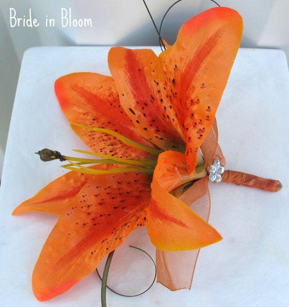 Wedding Cake Topper Set Orange Tiger Lily By