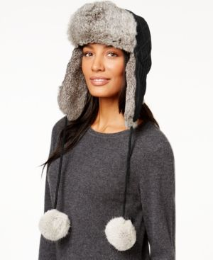 Surell Sweater Knit and Rabbit Fur Trooper Hat - Black