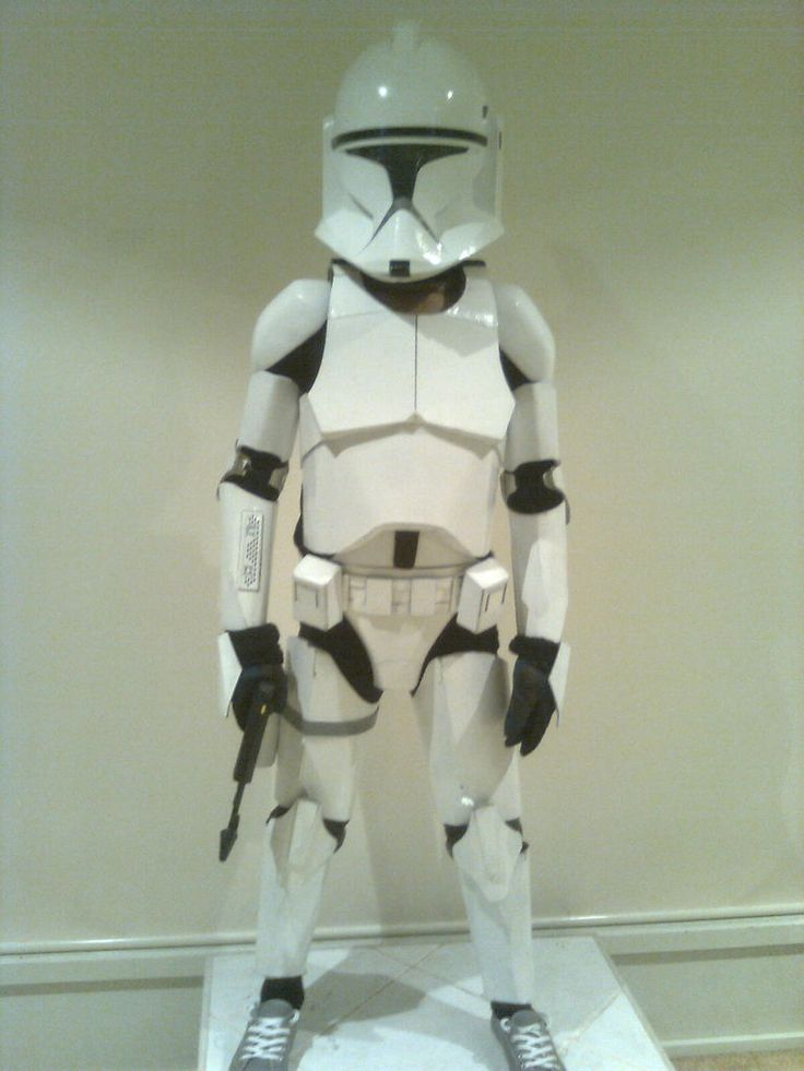 Probably one of the more challenging craft projects I've undertaken with the kids, to fabricate a childs full Clone Trooper costume (including helmet) from rigid boxboard sheets. Below is the end result and a bit about how it was done. The model is my ten year old son.