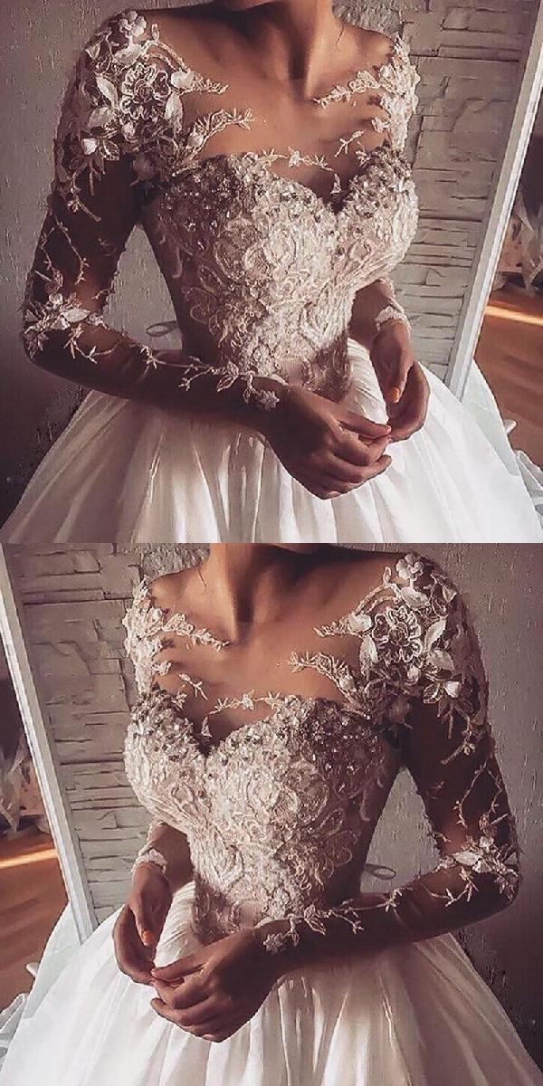 Wedding Dresses Long, Long Sleeves Wedding Dresses, A-Line Wedding Dresses, Appl... - Wedding Dresses 2018 - #ALine #Appl #Dresses #long #sleeves #Wedding