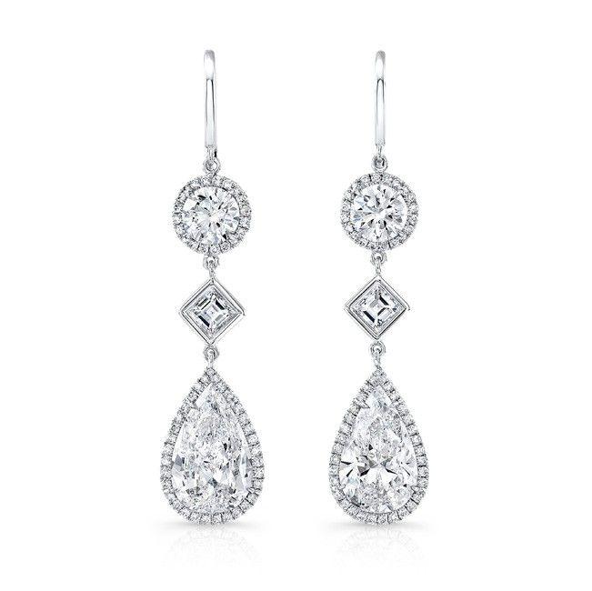 Rahaminov Diamonds Pavé Diamond Triangle Drop Earrings in 18K Rose Gold NF8fmm9
