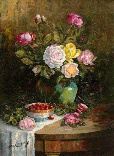 Франц Куртену Натюрморт с розами и Вишни Конец 19 - начало 20-го века