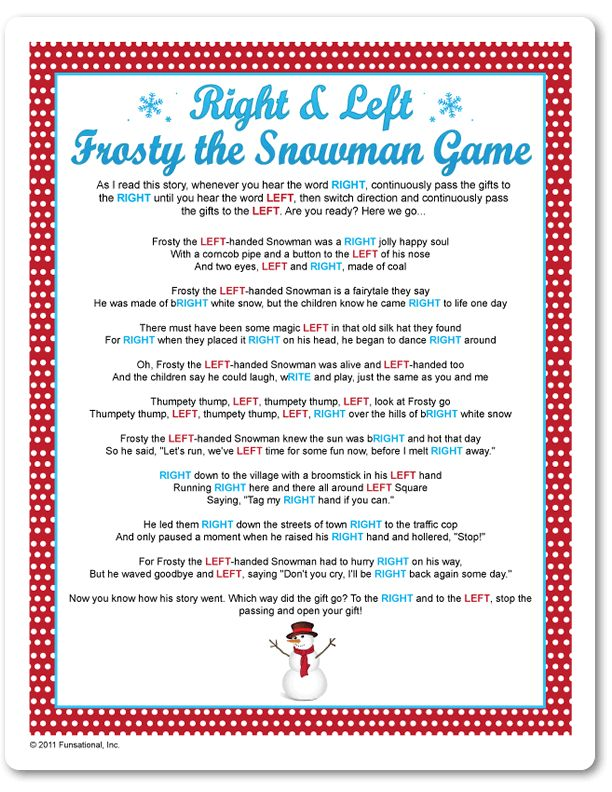 Christmas party games (includes trivia questions) Printable Right & Left Frosty The Snowman Game