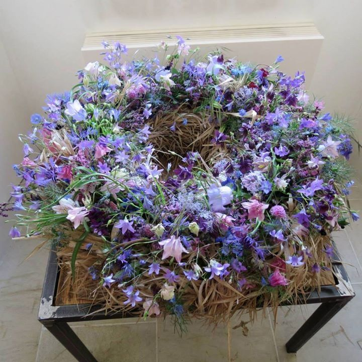 rustic violet wreath #floral #funeral #tribute