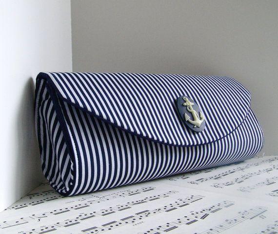 Nautical navy blue clutch purse Spring fashion Striped by toriska, $35.00
