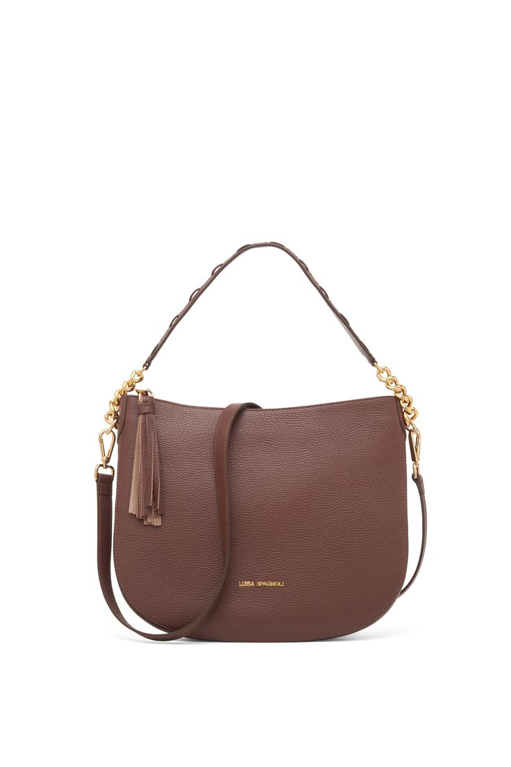 Leather crossbody bag with hand made handle
