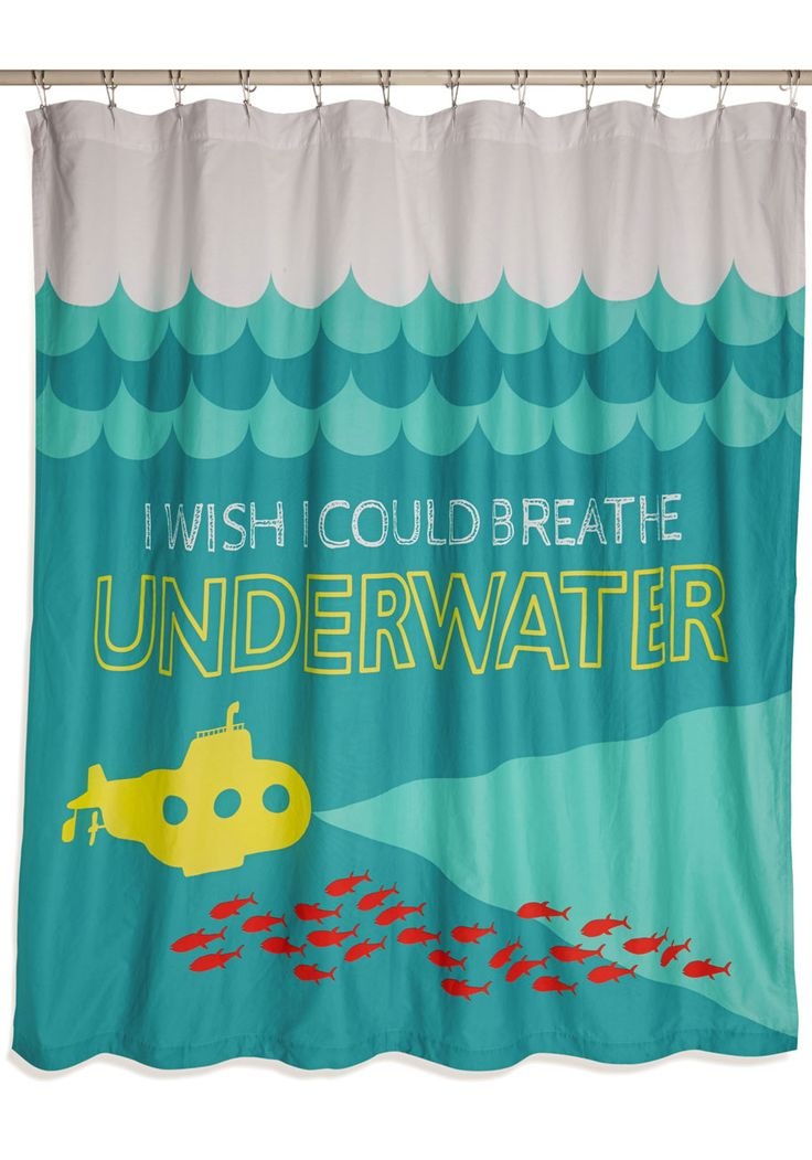Livin' the Clean Shower Curtain. You daydream big, and while some ambitions are a little lofty - like the one printed on this fabric shower curtain - others are waiting for you! #multi #modcloth