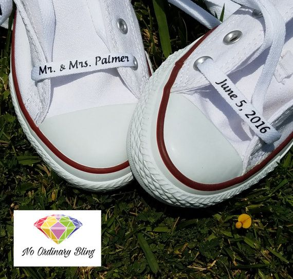 Custom Wedding Converse Laces  Personalized by NoOrdinaryBling