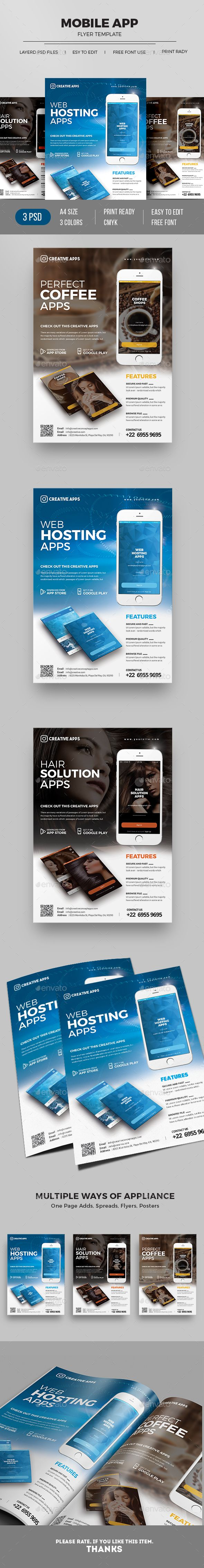 Mobile App Flyer Mobile App Promotion Flyer Template, is perfectly suitable for promoting your mobile application, android app, ios app or any other application software. You can also use this template in multipurpose advertising purpose like newspaper ad or magazine ad.