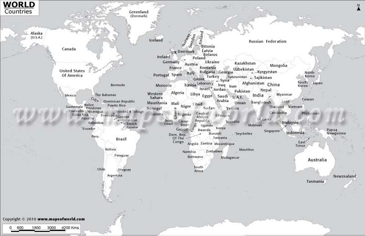 Black and White World Map with Country Names | Crafts ...