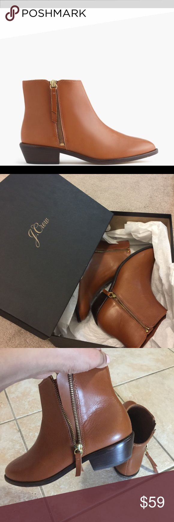 "J.Crew ""Frankie"" ankle boots Size 8 Gorgeous tan Leather ankle boot, made in Brazil, gold zipper, in EXCELLENT condition. Staple for fall/winter, very versatile, looks great with jeans, leggings and dresses. Absolutely beautiful and comfortable pair! J. Crew Shoes Ankle Boots & Booties"