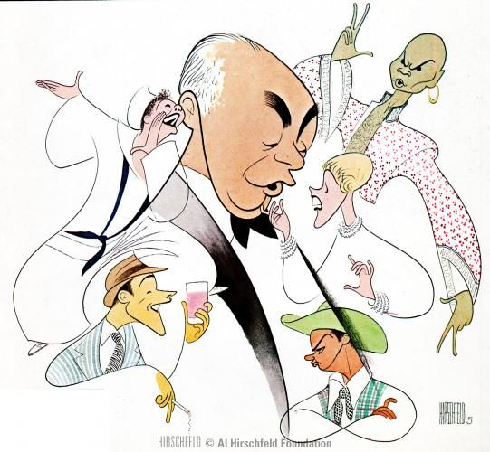 """Al Hirschfeld ~ Richard Rodgers and performers from his best programs: Mary Martin in """"South Pacific"""", Yul Brynner in """"The King and I"""", Julie Andrews in """"The Sound of Music"""", Alfred Drake in """"Oklahoma!"""", and Gene Kelly in """"Pal Joey"""""""