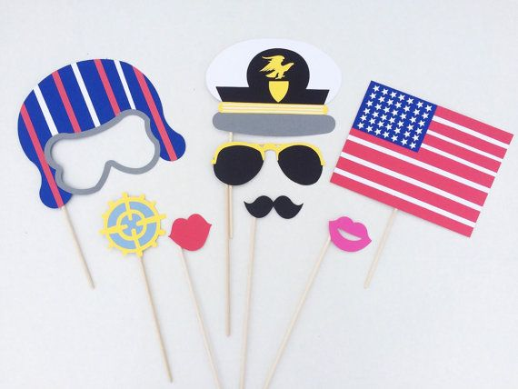 Air Force Inspired Photo Booth Props - USA Photo Booth Props - Air Force Props - Wedding Props - Military Partyby LetsGetDecorative